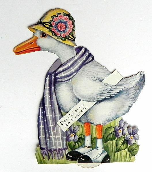 ANTIQUE EASTER CARD DIECUT MECHANICAL STANDUP DUCK or GOOSE WEARING SPATS