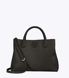 Tory Burch McGraw Satchel - Black Leather, New