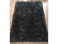 Brown black shaggy rug living room 180 x 120