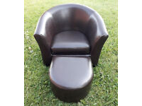 Child's faux leather chair with foot rest
