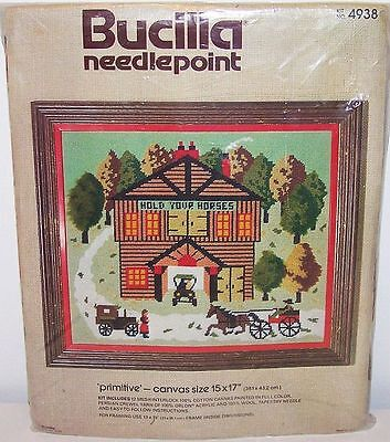 Bucilla primitive Horse Buggy Old Cars Country Needlepoint Stitch Kit