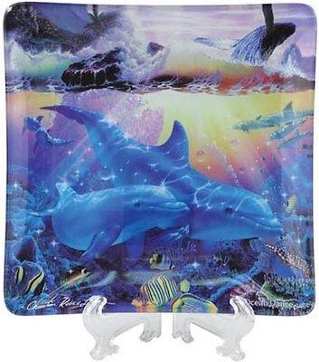 Ocean Dance Dolphins Whale Decorative Glass Dish Christian Riese Lassen NiB
