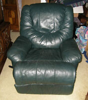 Real Leather comfortable Reclining Chair, dark green color