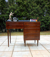 1960's Refurbished Walnut Desk with protective glass and chair