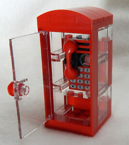 NEW LEGO PHONE BOOTH city town minifig street minifigure scale telephone red
