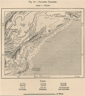 Cananeia Channel.Mar Pequeno.'American colony'.Ilha do Cardoso Brazil 1885 map