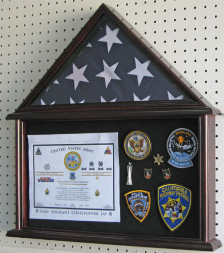 Flag Display Case Military Shadow box for 4