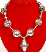Enormous Sterling Silver Designer Bead Necklace