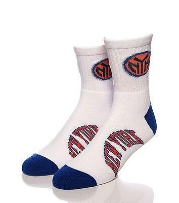 New York Knicks NY NBA Large Socks Mens Fits 10-13 White Quarter 501