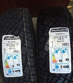 2 brand new general grabber at 225/75r15