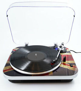GPO Jam Record Player - 3 Speed - Union Jack Retro Design Turntable - Clear Lid