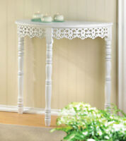 Romantic Shabby Chic Distressed White Half-Moon Hall Table New