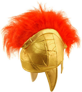 FANCY DRESS KIDS ROMAN GREEK SPARTAN SOLDIER SOLDIERS HELMET RED PLUME BOOK WEEK