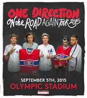 3 TICKETS ONE DIRECTION MONTREAL 2015