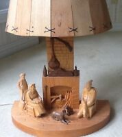 Vintage Traditional Quebec Wood Sculpture Lamp by Amede Godro