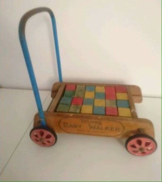 Vintage Tri-ang Wooden Push along with complete set of bricks blocks Baby Walker