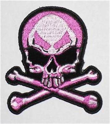 SKULL X BONES JACKET PATCH PINK  biker iron on