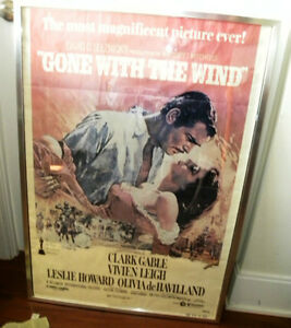 "Original 1939 ""Gone with the Wind"" poster in silver frame"