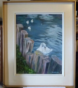 "Billie Appleton ""Swans At Pinecoft"" Original Oil Painting"