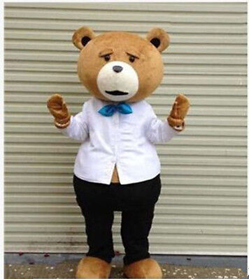 Halloween Teddy Bear Mascot Costume TED Adult Cartoon Party Fancy Dress Parade