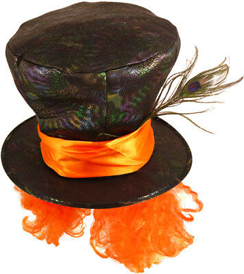 Mad hatter hat with Orange hair and a feather - Alice in Wonderland fancy dress (Alice And Wonderland Hats)