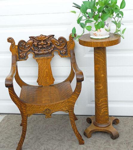 Antique c1900 American Tiger Oak Rare! Irish Green Man carving large armchair