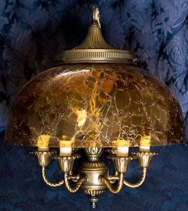 Art Deco Vintage Amber Crackle Glass Brass Chandelier