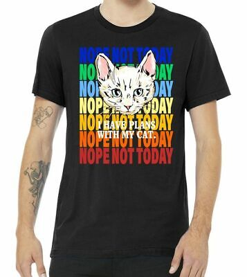 Nope Not Today I Have Plans With My Cat Black T Shirt. Best Christmas Gift. ()