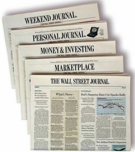 Wall Street Journal Subscription Print & Digital 1 Year WSJ 4-5 DAY START TIME