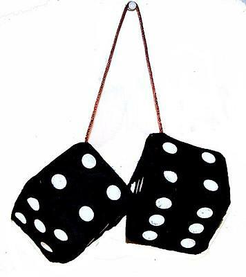 BUY 1 PAIR GET 1 FREE BLACK FUZZY PLUSH 3 IN DICE rearview hanging car mirror (Buy Fuzzy Dice)