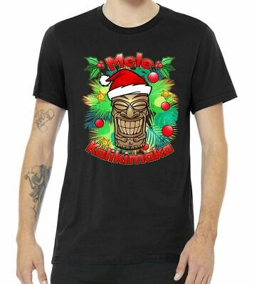 Christmas Tiki Mele Kalikimaka Black T Shirt. Best Christmas Gift For Friends. ()