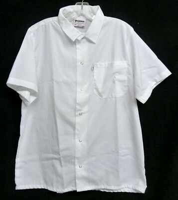 White Cook Shirt M Short Sleeve Uncommon Threads Unisex Polyester Blend New