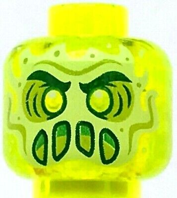 Lego New Minifigure Head Alien Ghost Yellowish Green Face Slime Mouth Halloween