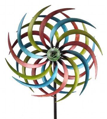 SOLAR Windrad BUNT ArtFerro Windspiel Gartenstecker Gartendeko Metall * H187 Ø46