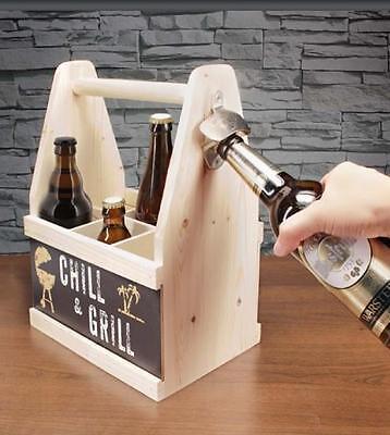Beer Caddy Bier Flaschenträger mit Flaschenöffner für Vatertag Grillen Party