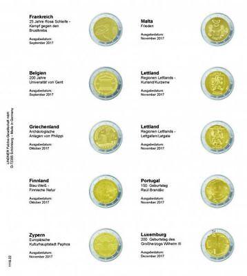 Lindner 1118-22 Vordruckblatt für 2 Euro-Gedenkmünzen: Frankreich 2017 bis Luxem