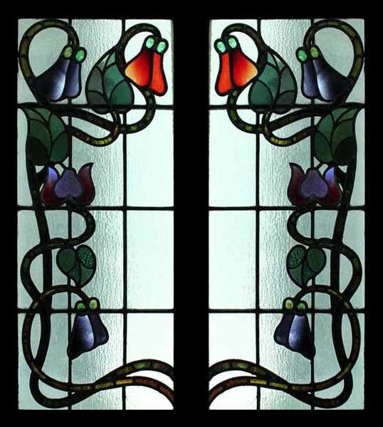 Rare Art Nouveau Antique English Floral Stained Glass Sidelights Ebay