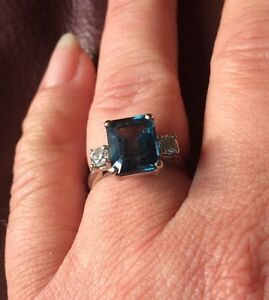 Diamond and blue topaz