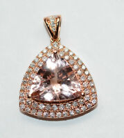 4.5 Carat Morganite & Diamond Pendant, 14K Rose Gold, Value $3,4