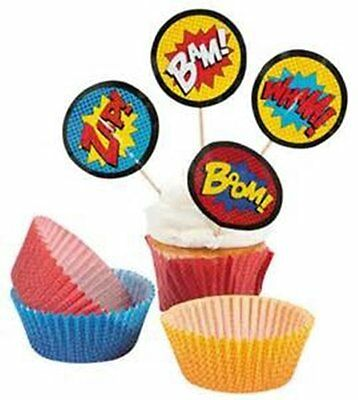 Superhero Cupcake Picks & Baking Liner Cups - Superhero Cupcake Liners
