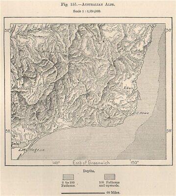 Australian Alps 1885 old antique vintage map plan chart