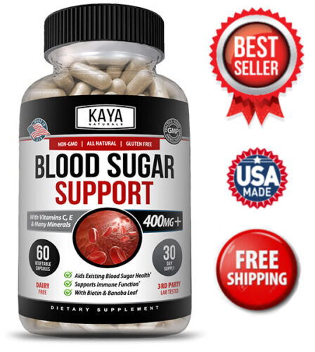 BLOOD SUGAR SUPPORT Alpha Lipoic Acid & Cinnamon 20 Herbs Supplement 60 Capsules