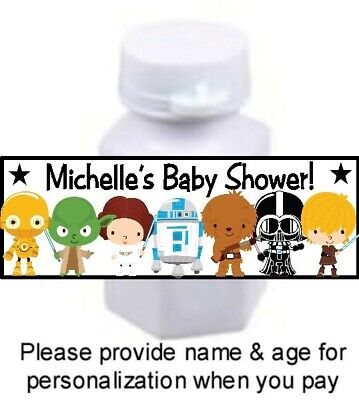 30 Baby Stars Wars Shower Birthday Party Mini Bubble Labels Stickers Favors Tags - Stars Wars Party Supplies