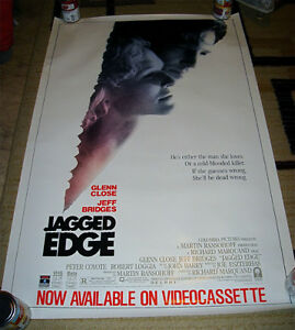 1986 JAGGED EDGE JEFF BRIDGES GLENN CLOSE VIDEO POSTER ROLLED