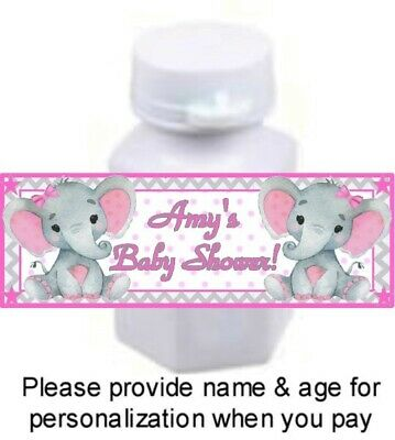 30 Elephant Baby Shower Birthday Party Mini Bubble Labels Sticker Pink Gray Girl (Pink Gray Elephant Baby Shower)