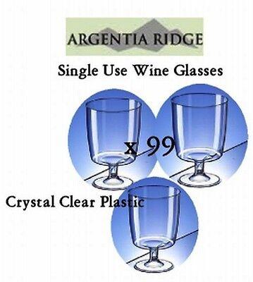 Disposable Plastic Wine Glasses x 99 Clear Glass 210ml Party Tableware Bulk Lot](Bulk Plastic Wine Glasses)