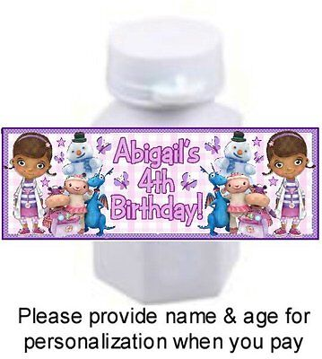 30 Doc McStuffins Birthday Party Bubble Labels Stickers Dottie Baby Shower Favor (Doc Mcstuffins Birthday Party)