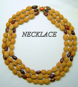 Vintage Necklace, 3 strands of  beans and nuts