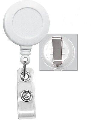 Lot Of 100 Pcs White Retractable Reel Id Badge Holder Usa Wholesale Belt Clip