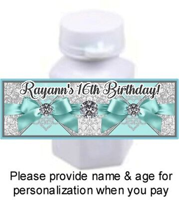 30 Tiffany Blue Birthday Party Baby Shower Bubble Labels Stickers Diamond Ribbon
